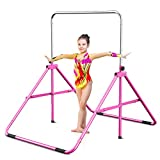 Gymbarpro Gymnastics Bars for Kids, Adjustable Horizontal Bar, Junior Training Bars Folding Monkey Bars for Beginner Practicing Home Kids Gymnastics Equipment for Home (Pink Upgrade)