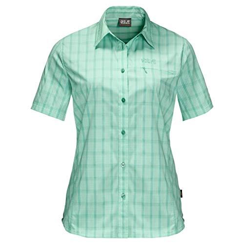 Jack Wolfskin Centaura Chemise Femme, Vert (pacific green checks), FR (Taille Fabricant : XL)