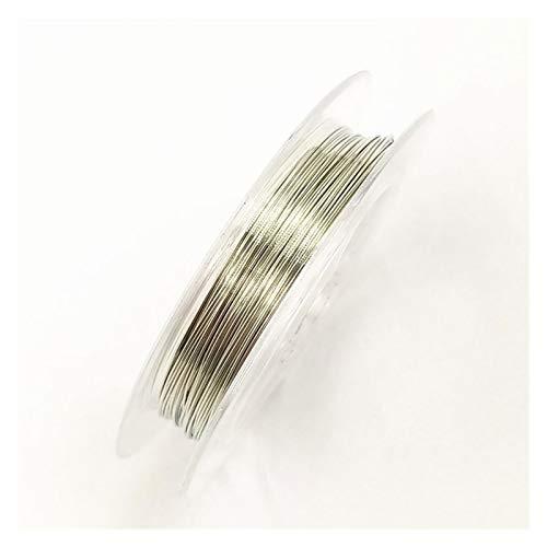 XUXUN Joyería de Alambre 0.3mm * 10m 1 Rollo de Alambre Multicolor Accesorios Cable/joyería Que Hace de Cuerda de Alambre de Cobre Rebordear Bricolaje (Color : Plata)