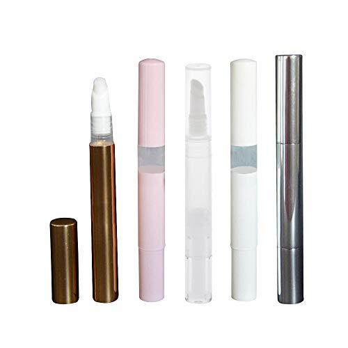 ICYANG Nagelöl Stift Mit Pinsel 5 Stücke 3 ml Twist Pens Leere Spitze Kosmetische Lipgloss Tube Container Leere Twist Pen Einweg Wimpern Wachstum Flüssigkeit Tube Transparent