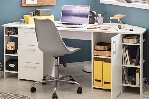 Schreibtisch Eck Weiss Eck-Bürotisch Eckschreibtisch - (3717)