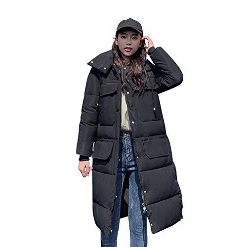 Daunenjacke Damen Mantel Winter Jacke Ultraleicht Steppjacke Parka Outwear Daunenmantel Coat Warme Steppmantel Knielanges Fashion-Kapuzenoberteil mit großer Tasche und Langen Ärmeln
