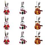 9 PCS Bolsita para cubiertos, tres diseño Papa Noel, Renos, Muñeco de Nieve para Decoración...