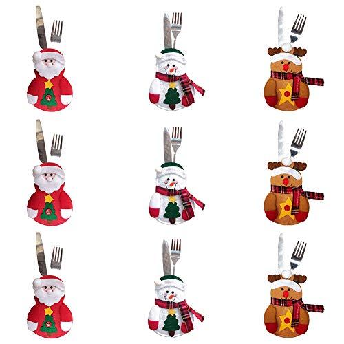 9 PCS Bolsita para cubiertos, tres diseño Papa Noel, Renos, Muñeco de...