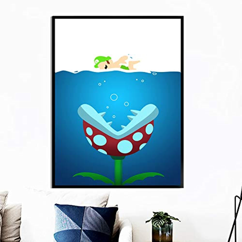 Juego de Personajes Póster Arte de la Lona Pintura Nordic Poster Picture Nios Boy Decoración de la habitación marco 40x50 cm
