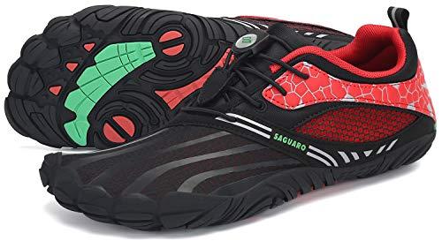 SAGUARO Minimalistas Zapatillas Mujer Calzado Barefoot Antideslizante Five Fingers Zapatillas Minimalistas Trail Rojo Manzana Caramelo 46 EU