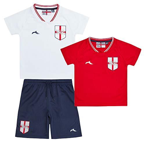 Kids Infant Boys England Football Soccer T-Shirts Short 3 Pieces Kit Set...