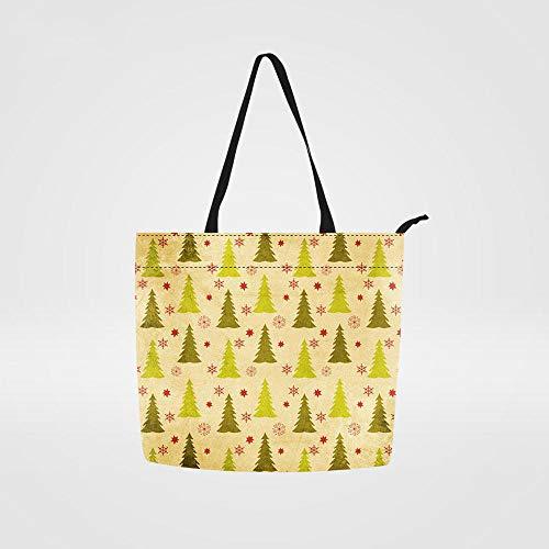 Leinwand Bedruckte Handtaschen,Niedliche Canvas Einkaufstasche Cartoon Weihnachtsbaum Schneemann Druckt Stoffbeutel Für Teenager Mädchen Mode Frauen Totebeutel Lady Schultertasche Top-Handle Taschen