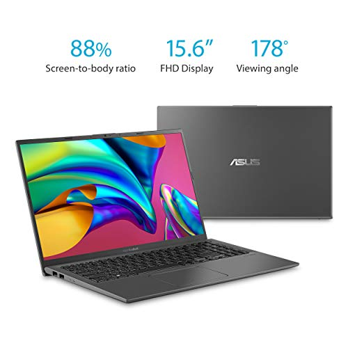 "Asus Vivobook 15 Thin and Light 15.6"" FHD, AMD Quad Core R3-3200U CPU, 8GB DDR4 RAM, 128G SSD, AMD Radeon Vega 3 Graphics, Windows 10 in S Mode, F512DA-DB34, Slate Gray"