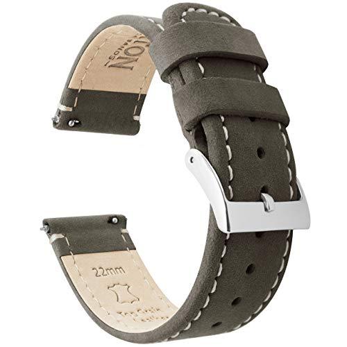 BARTON Quick Release - cinturini in pelle di alta qualità 22mm Espresso Nero/Bianco