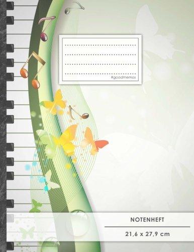 """Notenheft: DIN A4 • 48 Seiten, 24 Blatt, 12 Systeme, """"Frühling"""" • Original #GoodMemos Schulheft • Mit Inhaltsverzeichnis und Seitenzahlen, Noten-Lineatur 14"""