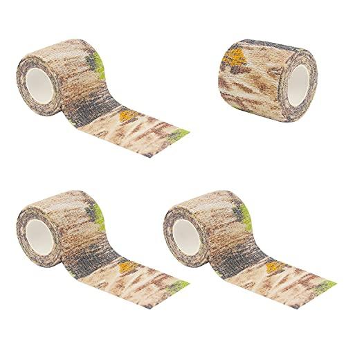 BOROLA Self-Adhesive Protective Camouflage Tape Cling Scope Wrap Military Camo Stretch Bandage for Gun Rifle Shotgun Camping Hunting (4Pcs, Deadwood Camo