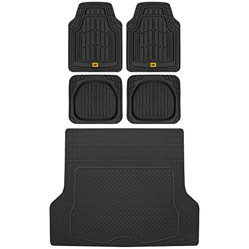 BDK Caterpillar CAMT-1004 (4-Piece) Deep Dish Rubber Car Floor Mats with Trunk Cargo Liner, Universal Trim to Fit Front & Rear Combo Set for Car Sedan SUV Van, Heavy Duty All Weather Odorless