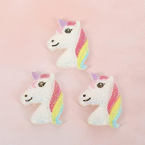 YULE Accesorios de bricolaje 10 piezas de resina Kawaii accesorios de unicornio arco iris de fondo plano cabujón adorno para scrapbooking DIY decoración artesanal mixto (color: 8)