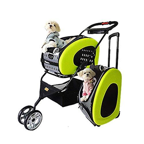 Haustierwagen, Haustierwagen Tragbarer Kinderwagengriff Verstellbarer Hundewagen Katzenwagen Leichter, kompakter, tragbarer, praktischer (Farbe: Grün, Größe: 47 x 95 x 91 cm) Fest