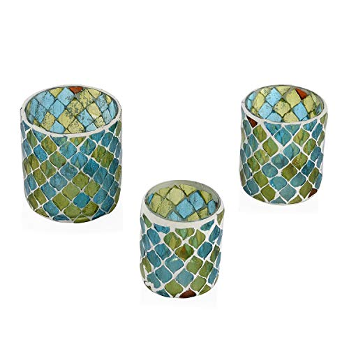 Shop LC Home Decor Set of 3 Blue and Green Mosaic Pattern Tea Light Glass Votive Candle Holder Party Decorations Gifts