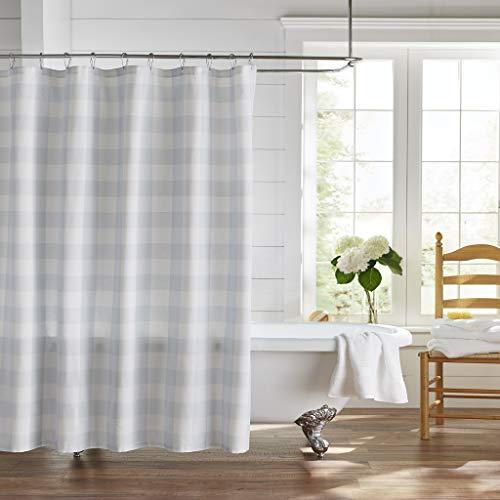 "Elrene Home Fashions Farmhouse Living Buffalo Check Fabric Shower Curtain, 72""x72"", Blue/White"