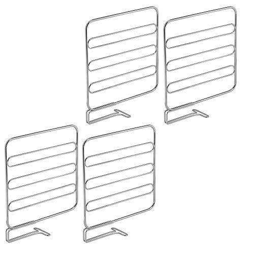 mDesign Juego de 4 separadores metálicos para organizar armarios y estanterías – Prácticos divisores de estantes y repisas – Sistema de accesorios para armarios sin tornillos – plateado