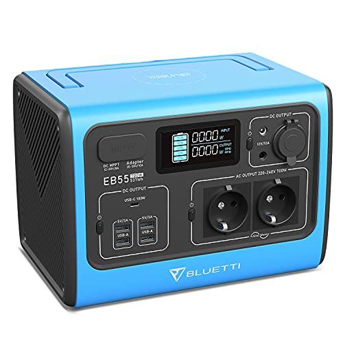 BLUETTI EB55 Tragbare Powerstation Solargenerator 537Wh LiFePO4-Batterie mit 700W Wechselrichter AC 230V / DC 12V / USB-Steckdosen Mobile Stromversorgung Stromerzeuger für Camping Wohnwagen