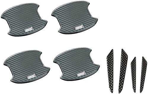 スバル STI 正規品ドアハンドルプロテクター 4枚 ST020 + 汎用ドアガード4枚+ レヴォーグ、インプレッサ、WRX、レガシィ、エクシーガ、フォレスター、XV