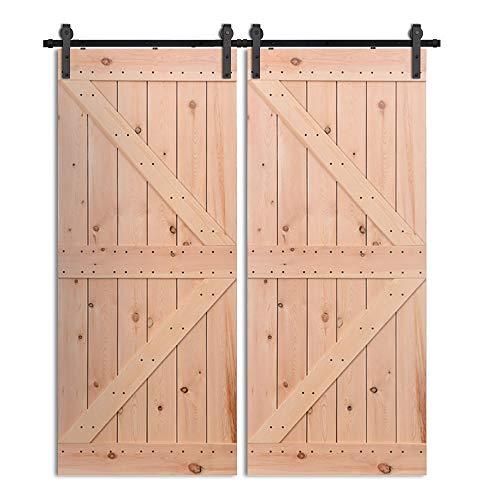 CCJH 365CM/12FT Puerta de granero corredera estilo rústico puerta de granero corredera de madera para armario puerta granero herraje colgadocon guía rodamientos deslizantes, para puerta doble