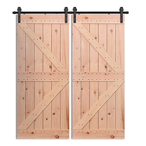 365CM/12FT Puerta de granero corredera estilo rústico puerta de granero corredera de madera para armario puerta granero herraje colgadocon guía rodamientos deslizantes, para puerta doble