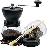 NAVNDS Manual Coffee Grinder Boutique Set with Ceramic Burr, 12oz Glass Jar, 1 Wooden Brush, Adjustable Grinding Thickness.