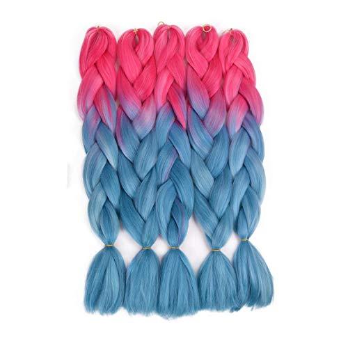 24 '' Tressage Cheveux Extensions de Cheveux Synth¨¦tiques Fibre Synth¨¦tique pour Jumbo Braid Hair Bundles 5 pcs/lot