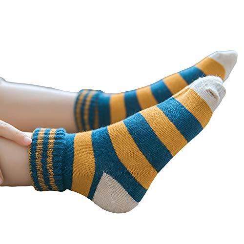 Sanwood Chaussettes en coton doux de tube moyen chaussettes de bout droit de rayure de bloc de couleur d'automne hiver pour le cadeau d'enfants Random Color M
