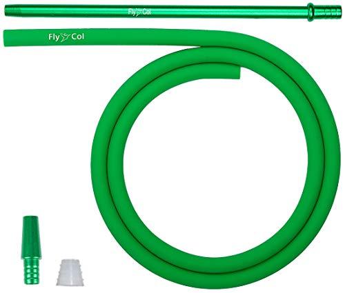 FlyCol Basic Shisha Schlauch Set universal für alle Wasserpfeifen | Silikonschlauch hose and handle Shishaschlauch Schlauchset mit Adapter Mundstück | Zubehör (Grün)