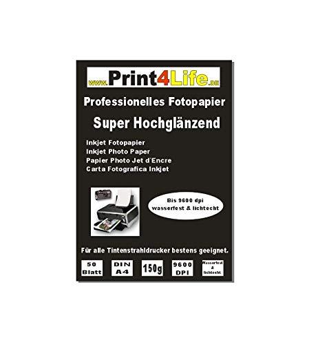 Print4Life 100 Blatt 150g DIN A4 Fotopapier Inkjet Tintenstrahldrucker Mehrzweck-Fotopapier - Gussgestrichenes, hochweißes und glänzendes Papier für hochqualitative Farbausdrucke.