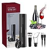 Sacacorchos Electrico, USB Abridores Automatico de Vino 4 en 1 Juego Profesional con Cortador Papel Vertedor Tapón de Vino Vacío Regalos para los Amantes del Vino