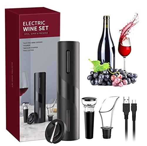 Sacacorchos Electrico , USB Abridores Automatico de Vino 4 en 1 Juego Profesional con Cortador Papel Vertedor Tapón de Vino Vacío Regalos para los Amantes del Vino