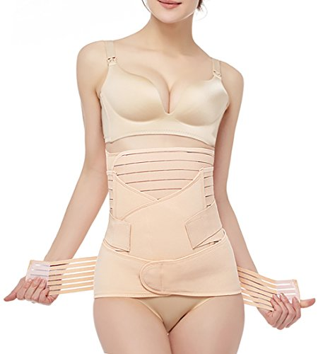 Postpartum Belly Wrap 3 in 1 Post Partum Support Girdles C-Section Recovery Belly Waist Pelvis Wrap Postnatal Trainer Belt Beige