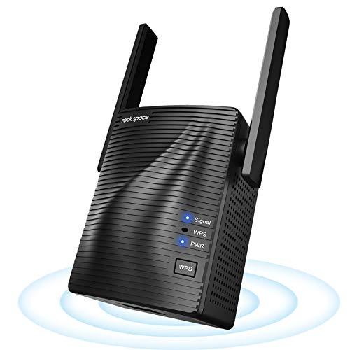 Ripetitore Segnale WiFi - Extender WiFi AC1200 WiFi Ripetitore Dual Band, Ripetitore WiFi Wireless con Access Point, 2 Antenne Potenzia, WPS, Copertura a 120㎡, Compatibile con Modem Fibra e ADSL