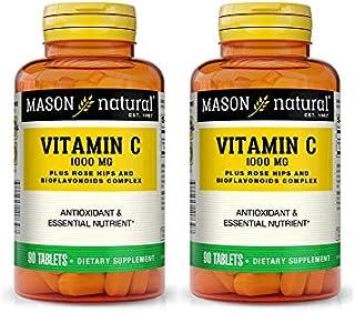 Mason Vitamins C 1000 mg Tablets Rose Hips/Lemon Bioflavonoids - 90ct, Pack of 2