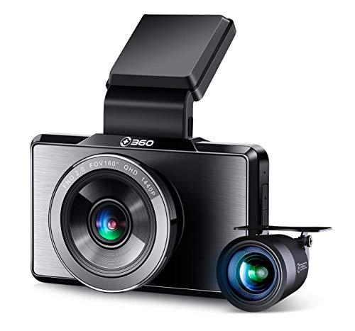 360 G500H Premium Dashcam Vorne + Hinten Autokamera (1440P Full-HD, Farb-Nachtsicht, 300-mAh-Akku, G-Sensor, Parküberwachung, Bewegungserkennung, Loop-Aufnahme, inkl. 32GB TF-Karte)