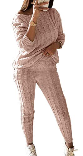 Women Knitted 2 Pieces Outfits Long Sleeve Crop Top Long Pants Sweater Suits Sets