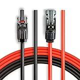 ANFIL 6M/20 pies de 4mm2/12AWG Cable de Extensión del Panel Solar, con Conectores MC4 Hembra y Macho Kit de Herramienta para el Adaptador (20 pies Rojo + 20 pies Negro)