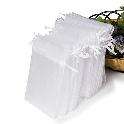 Hopttreely White Sheer Organza Gift Bags, 4x4.72 Pouches Candy Jewelry Wedding Party Favor Present Bags Wrapping Supplies50PCS