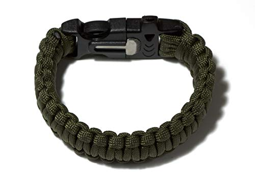 Pulsera de supervivencia con silbato, cuerda, mechero, rasqueta para aire libre (negro y verde)