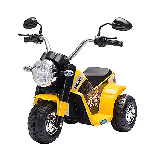 HOMCOM Moto Eléctrica Infantil con 3 Ruedas Triciclo a Batería 6V para Niños de 18-36 Meses con Faro Bocina Velocidad 2 km/h 72x57x56 cm Amarillo