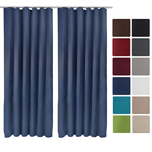 Beautissu Set de 2 Cortinas Blackout Amelie BK de Trabillas correderas 140x245 cm oscurecente Banda Universal Azul