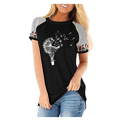 JUTOO Damen T-Shirt Leopard Kurzarm O-Ausschnitt gedruckt Casual Tops(Schwarz,M)