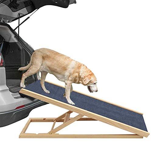 N/L Autorampe für Hund, verstellbare robuste hölzerne Pet Rampe Hervorragender Zugang zur Couch für Hunde und Katzen - Faltbare Stufen rutschfeste Teppichlauffläche, Unterstützung 110 lbs