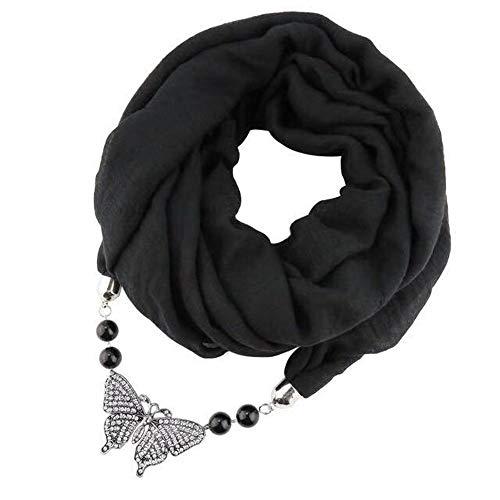 Micoop, sciarpa da donna multiuso con ciondolo, sciarpa alla moda, sciarpa con accessorio per gioielli Sciarpa Nera Con Farfalla Taglia media