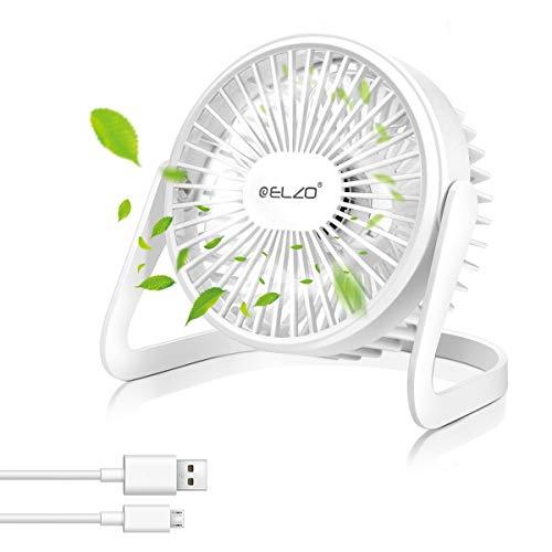 ELZO USB Fan - Mini Silent Fan, Portable Cooling Fan Office Fan with 360 Rotation - for Notebook Laptop PC Desk Table (White)