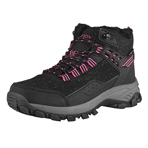 GRITION Womens Hiking Boots Waterproof Winter Walking Shoes Ankle Booties Outdoor High Top Fashion Backpacking Trekking Lace Up Casual Comfortable Ladies Snow Boot (8.5 US/39 EU, Black/Pink)