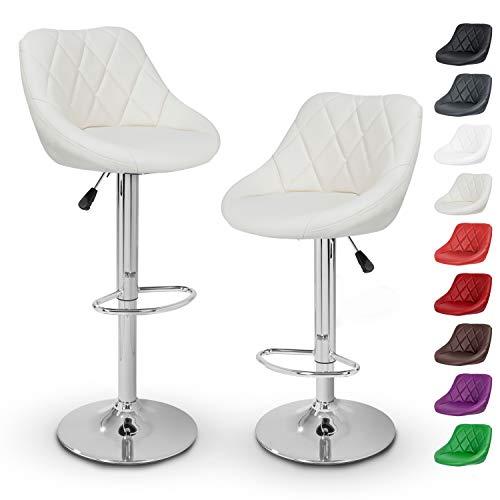 TRESKO Barhocker 2er Set mit Lehne - Barstuhl höhenverstellbar - Hocker für Theke & Küche, Barstühle 360° drehbar - verchromter Stahl, Fußstütze (Beige)