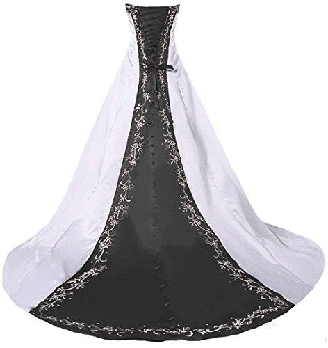 Vantexi Damen Trägerloses Stickerei Brautkleid Hochzeitskleider Weiß Schwarz 40
